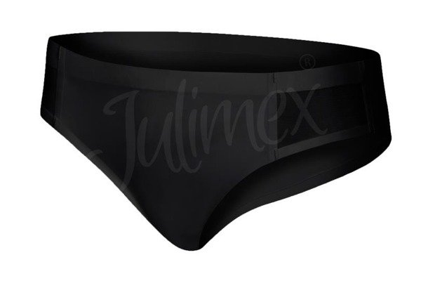 Majtki tai wykończone siateczką bikini Julimex czarne