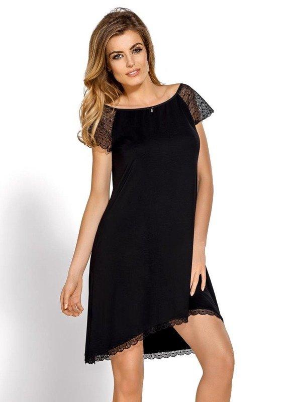 Koszulka nocna z koronką Sabrina Nipplex czarna
