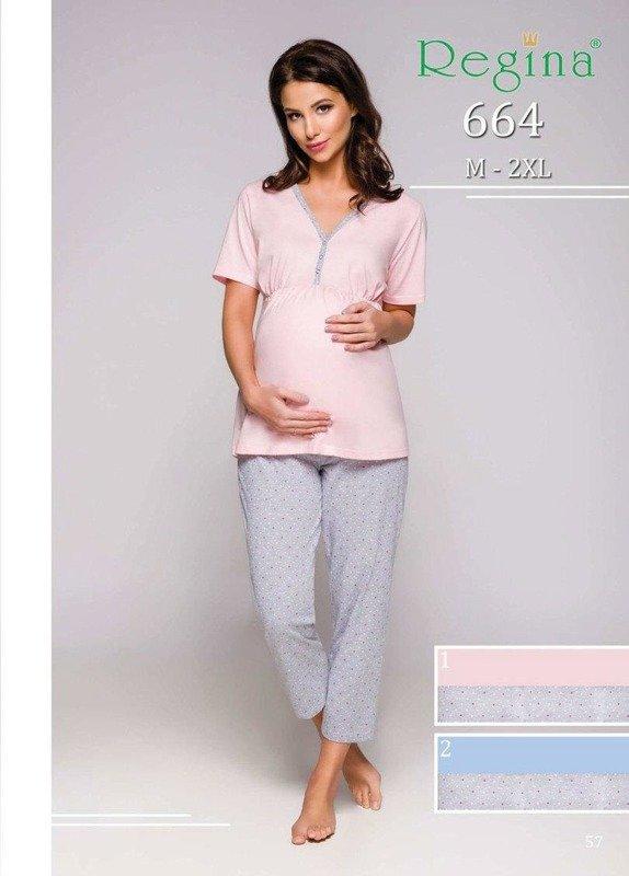 Piżama damska ciążowa Regina niebieska 664 2XL